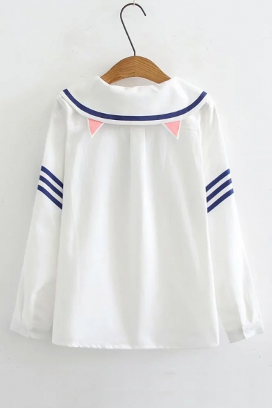 Girls' Lovely Bow-Tied Navy Collar Striped Pattern Long Sleeve Button Shirt