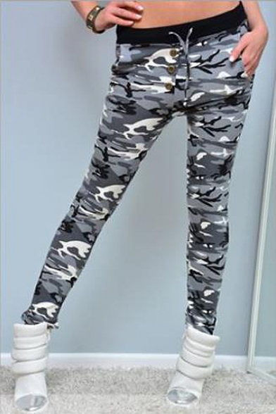 Hot Popular Classic Camo Pattern Drawstring Waist Button Front Skinny Fit Pants