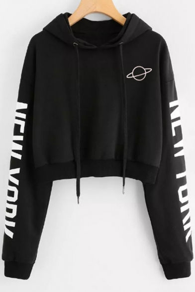 Hot Sale Letter Long Sleeve Planet Printed Cropped Hoodie