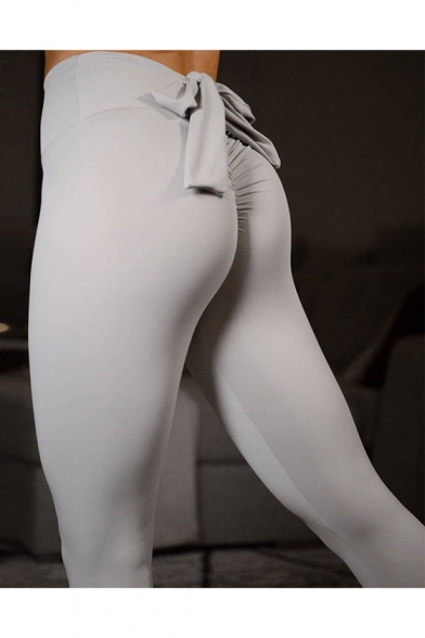 Купить со скидкой Hot Sale Plain Bow Back Elastic Waist Skinny Yoga Leggings