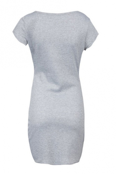 Hot Style Short Sleeve Scoop Neck Button Front Mini Bodycon Dress