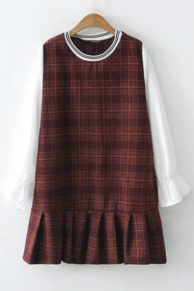 Long Sleeve Round Neck Plaid Pattern Patched Fake Two Piece Mini Dress