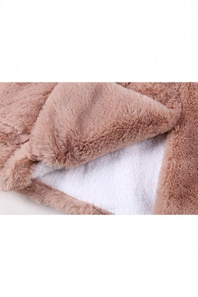 New Arrival Long Sleeve Toggle Cute Cartoon Bear Hooded Longline Light Coffee Faux Fur Coat