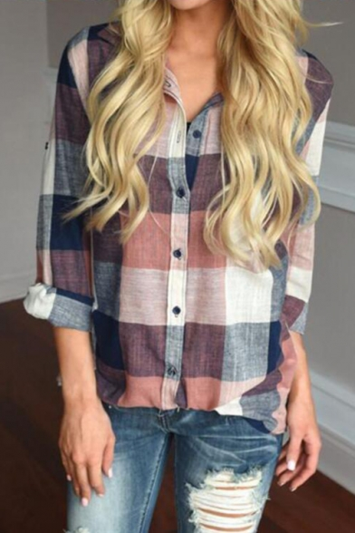 Popular Long Sleeve Button Down Plaid Printed Lapel Collar Shirt