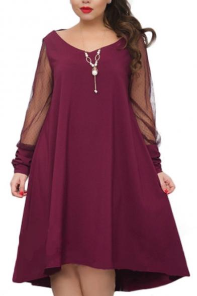 Popular Sheer Long Sleeve V Neck Plain Midi Swing Dress