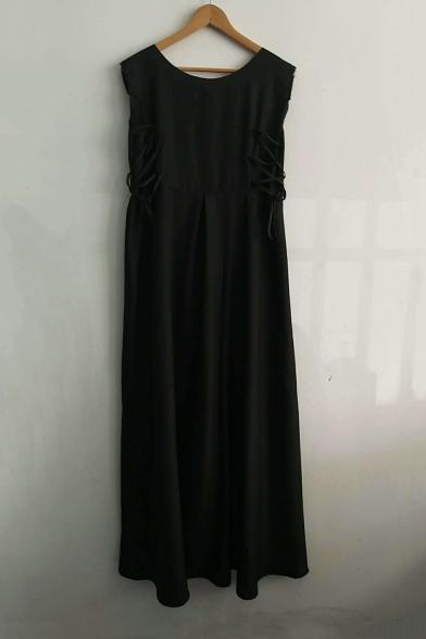 Retro Basic Solid Round Neck Sleeveless Lace-Up Side Maxi A-Line Dress