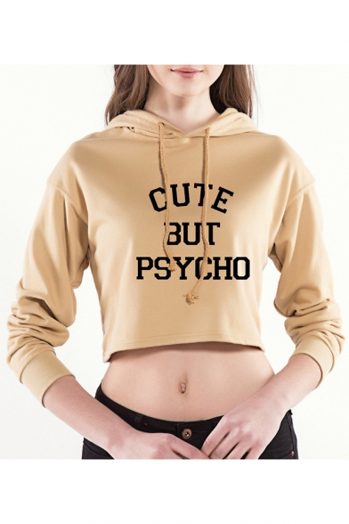 82412f964 Sexy Long Sleeve Letter CUTE BUT PSYCHO Printed Drawstring Cropped Hoodie  ...