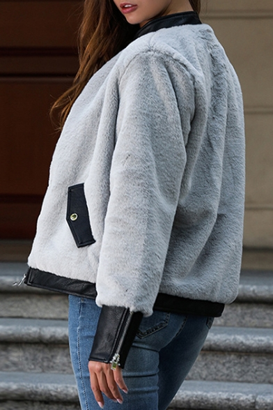 Street Style Long Sleeve Stand Collar PU Patched Zip Placket Gray Coat