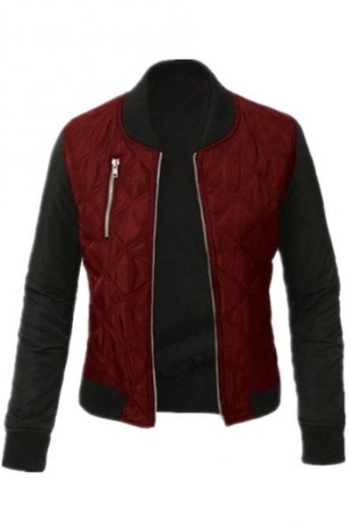 Stylish Colorblock Long Sleeve Stand Collar Zip Closure Jacket
