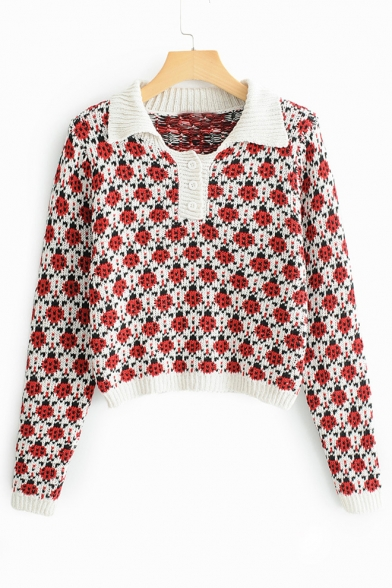 Image of All Over Ladybug Jacquard Long Sleeve Lapel Collar Cropped Sweater