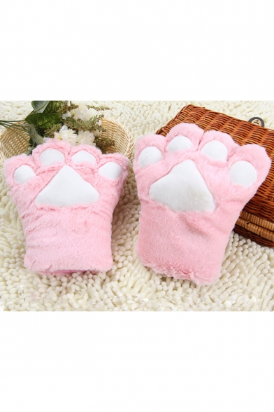 Cartoon Cat Claw Shaped Thick Plush Warm Unisex Gloves