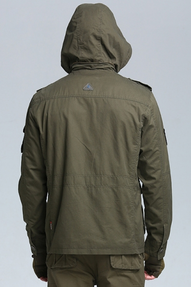Classic Army Green Stand Collar Hooded Long Sleeve Multi-Pocket Button Front Military Jacket