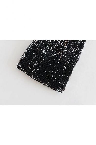 Classic Black Spaghetti Straps Mini Bodycon Sequined Slip Dress for Party