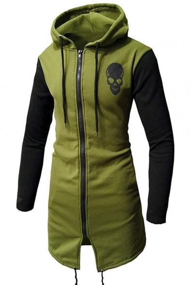 Cool Skull Pattern Zip Front Contrast Sleeves Drawstring Longline Hoodie with Adjustable Hem