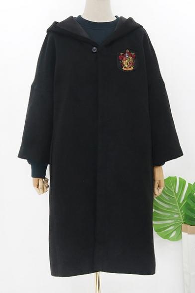 Fashion Harry Potter University Badge Chest Long Sleeve Hooded Overcoat