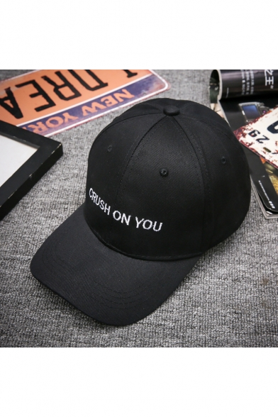 Fashion Letter CRUSH ON YOU Embroidered Black Adjustable Sun Baseball Cap