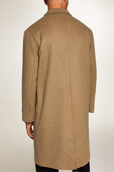 Fashion Popular Long Sleeve Notched Lapel Collar Plain Single Breasted Tunics Woolen Coat