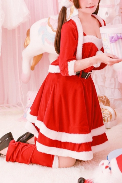 Fashion Red Christmas Cosplay Bunny Girl Mini Slip Dress Coat Belted Waist with Ear Headband Footmuff Five-Piece