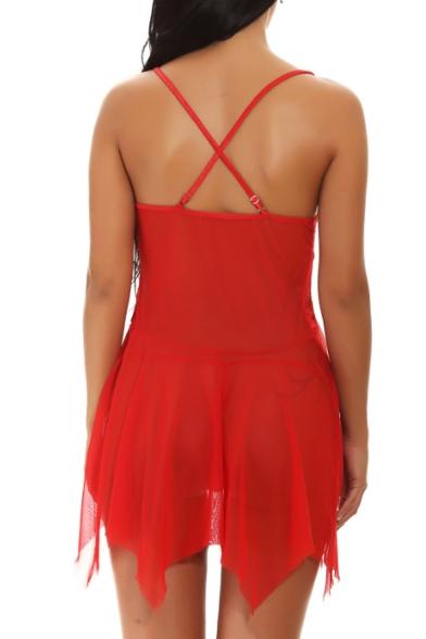 Fur Trimmed Spaghetti Straps Asymmetrical Hem Sexy Mini Red Dress