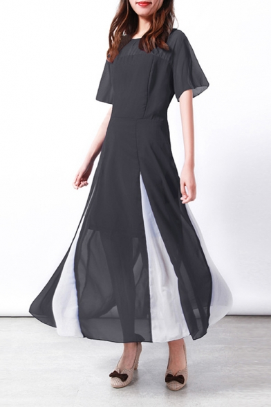Купить со скидкой Hot Fashion Round Neck Short Sleeve Two-Tone Hem Maxi A-Line Chiffon Dress