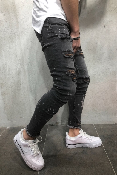 Dark Gray Mid Waist Zipper Fly Ripped Jeans