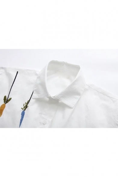 Lovely Cartoon Rabbit Carrot Embroidered Long Sleeve Button Down White Shirt
