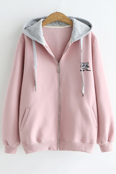 Lovely Long Sleeve Cute Cartoon Cat Letter Embroidered Zip Placket Hooded Coat