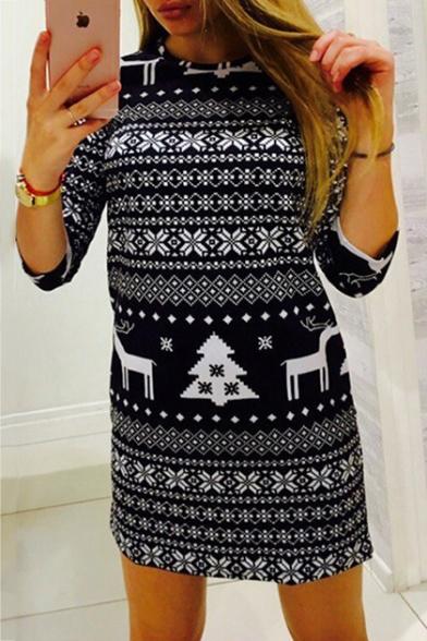 Popular Half Sleeve Round Neck Cartoon Deer Tree Printed Sheath Mini Dress