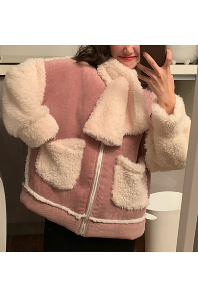 Popular Zip Closure Long Sleeve Contrast Pockets Fleece Lined Winter Jacket with Scarf