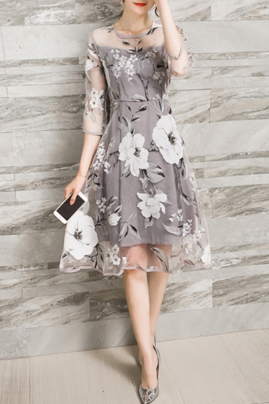 Round Neck 3/4 Length Sleeve Floral Printed Gray Organza Mini A-Line Dress