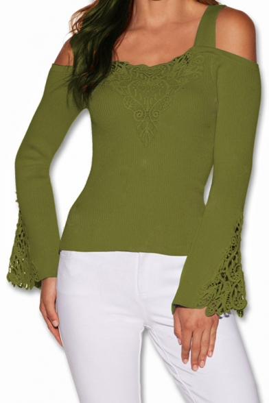 Sexy Cold Shoulder Fashion Lace-Paneled Solid Slim Long Sleeve Bell Cuff T-Shirt