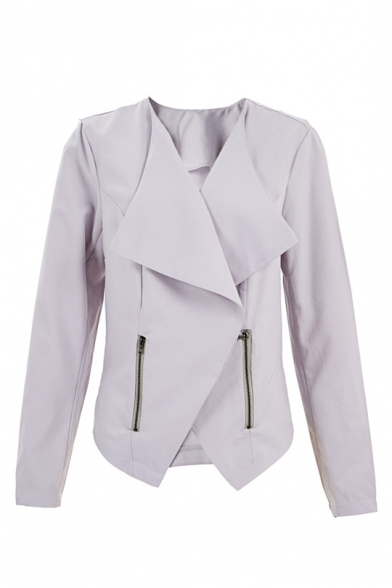 Unique Long Sleeve Lapel Collar Plain Zip Embellished Fitted Coat