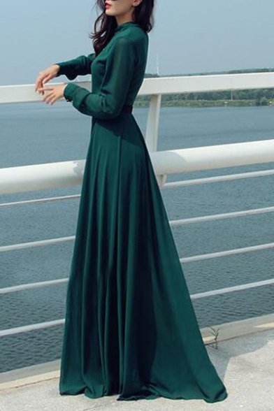 Vintage Green Stand Collar Long Sleeve Button Front Belted Waist Floor Length A-Line Dress