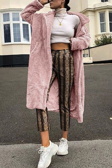 Winter's New Trendy Chic Long Sleeve Faux Fur Plain Tunics Notched Lapel Collar Coat