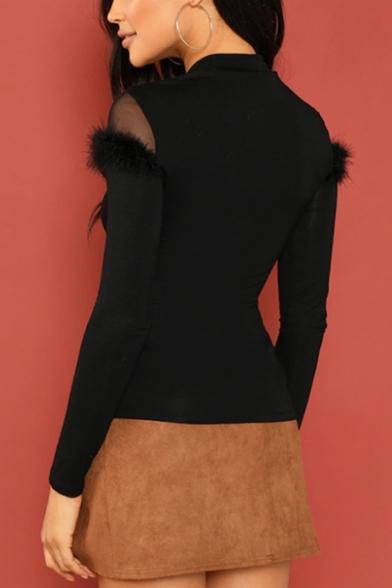 Women's Sexy Sheer Mesh-Paneled Fur-Trimmed Mock Neck Long Sleeve Black Slim T-Shirt