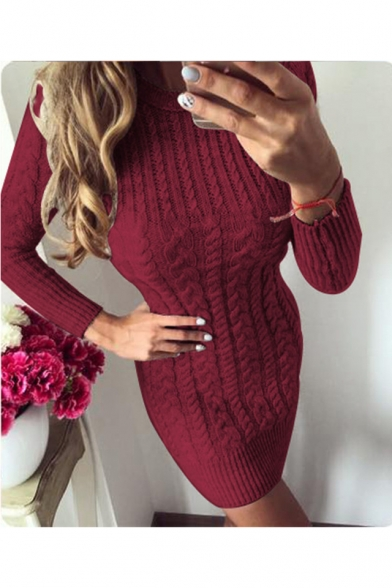 Women's Winter Graceful Solid Round Neck Long Sleeve Cable-Knitted Mini Pencil Sweater Dress