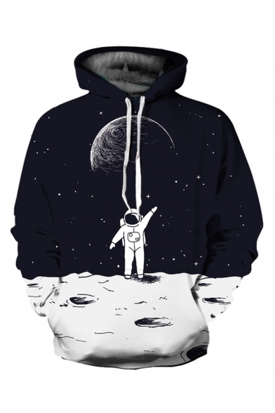 3D Cozy Loose Astronaut Printed Long Sleeve Black Hoodie for Couple LC494557 фото