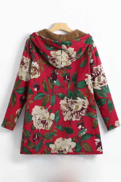 Antique Long Sleeve Floral Printed Thick Zip Front Hooded Coat