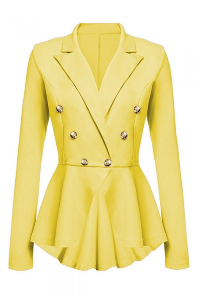 Classic Notched Lapel Collar Long Sleeve Double Breasted Solid Slim Fitted Blazer for Office Ladies