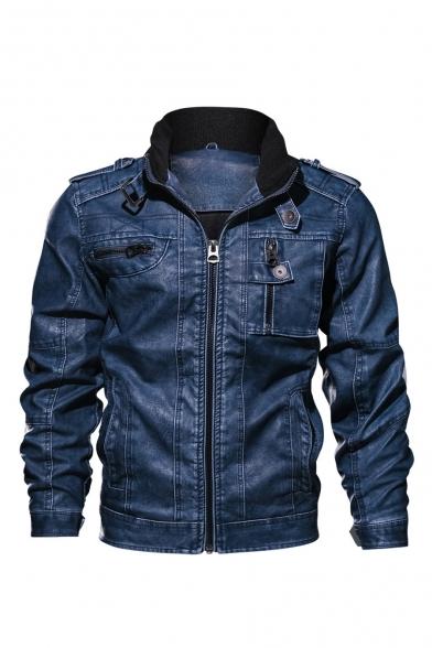 Cool Multi Zip Embellished Long Sleeve Lapel Collar Zip Placket PU Biker Jacket