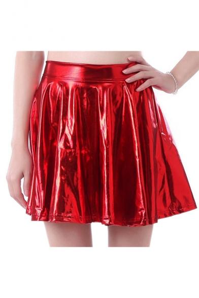 buying cheap men/man enjoy bottom price Cool Street Style Elastic Waist Faux Leather Plain Mini A-Line Skirt