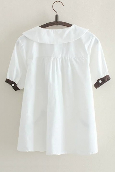 Fashion Color Block Bow-Tied Peter-Pan Collar Short Sleeve Letter Embroidered White Shirt