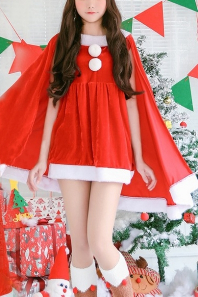 Girls' Lovely Christmas Cosplay Pompom Embellished Mini A-Line Cape Dress