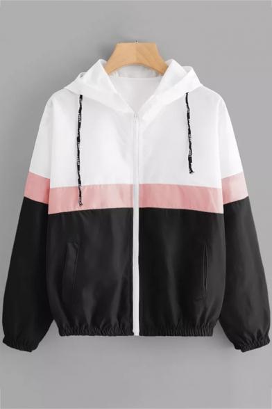 Hot Popular Long Sleeve Elastic Hem Cuff Colorblock Hooded Coat