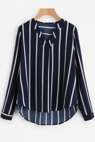 Hot Sale Classic Long Sleeve V Neck Striped Printed Blouse Shirt