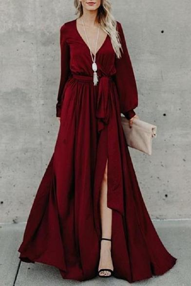 Lantern Long Sleeve V Neck Plain Tie Waist Split Front Maxi Party Dress