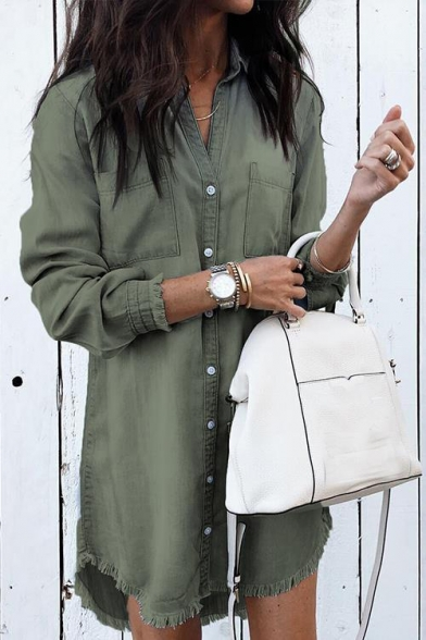 Купить со скидкой Lapel Collar Long Sleeve Button Front Double Pockets Chest Fringed Trim Midi Shift Denim Shirt Dress