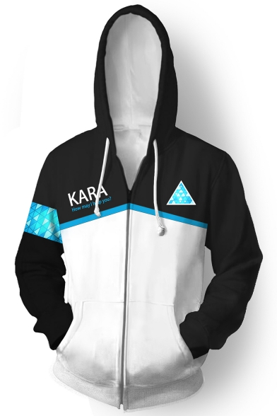 Detroit Become HumanLetter KARA Printed Fashion Black and White Colorblock Long Sleeve Zip Up Hoodie
