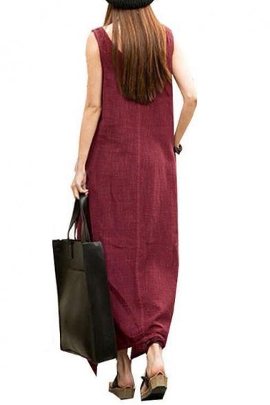 Linen Sleeveless Scoop Neck Solid Handkerchief Hem Maxi Asymmetrical Tank Dress