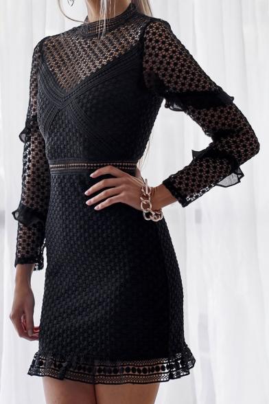 Long Sleeve Mock Neck Ruffle Detail Semi Sheer Lace Insert Mini Bodycon Dress